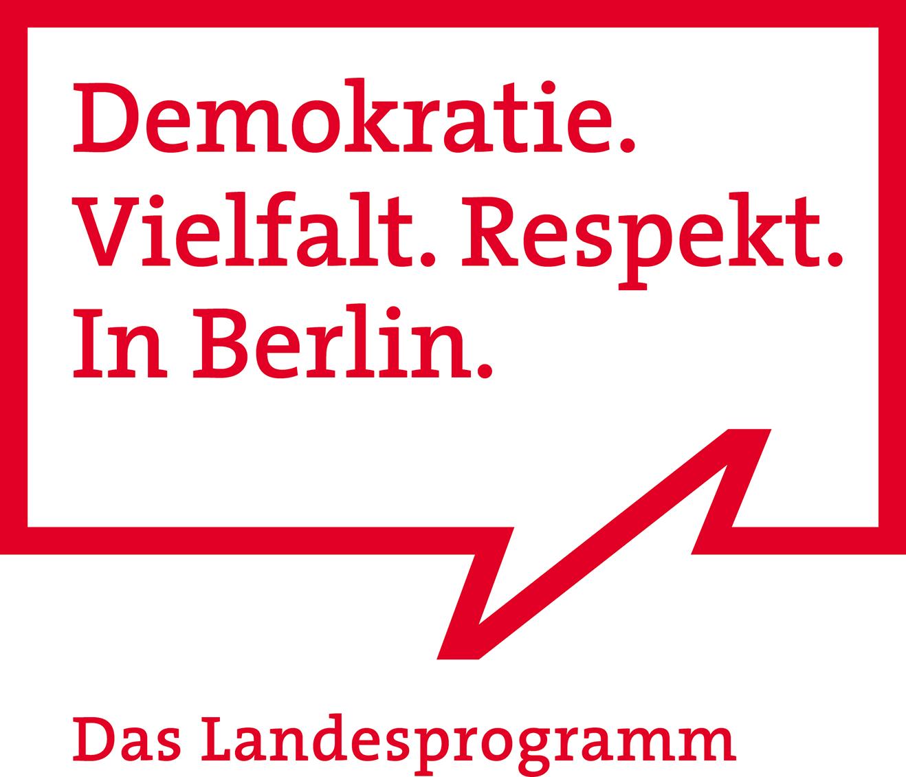 Logo Demokratie. Vielfalt. Respekt. In Berlin. Das Landesprogramm